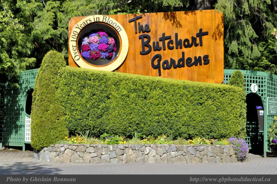 Butchart Gardens Welcome sign
