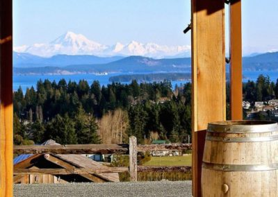 View of Mount Baker from Devine Wine Vineyard on Vancouver Island, BC